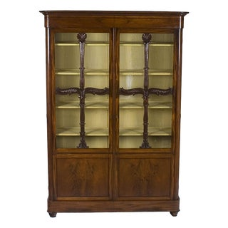 19th Century French Empire Style Mahogany Bookcase China Cabinet For Sale