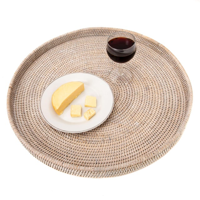 Boho Chic Artifacts Rattan Round Ottoman Tray For Sale - Image 3 of 5
