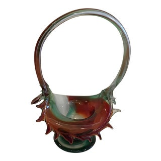 Vintage Green & Red Art Glass Basket