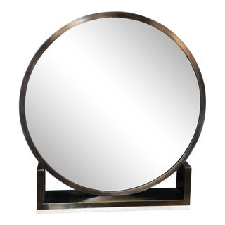 Round Vanity Mirror on Brass and Marble Stand For Sale
