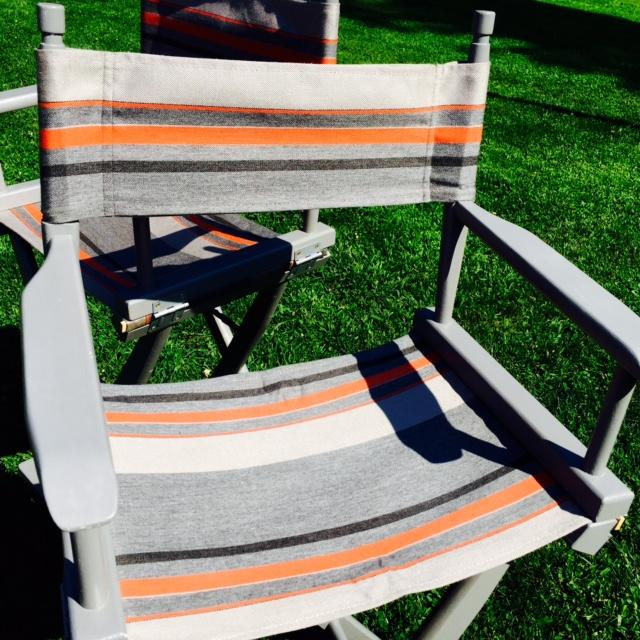 Gray and Orange Striped Director's Chairs - A Pair - Image 9 of 10