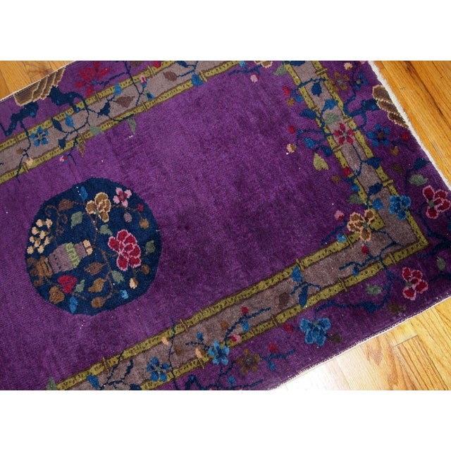 1920s, Hand Made Antique Art Deco Chinese Rug 2.10' X 4.9' For Sale In New York - Image 6 of 13