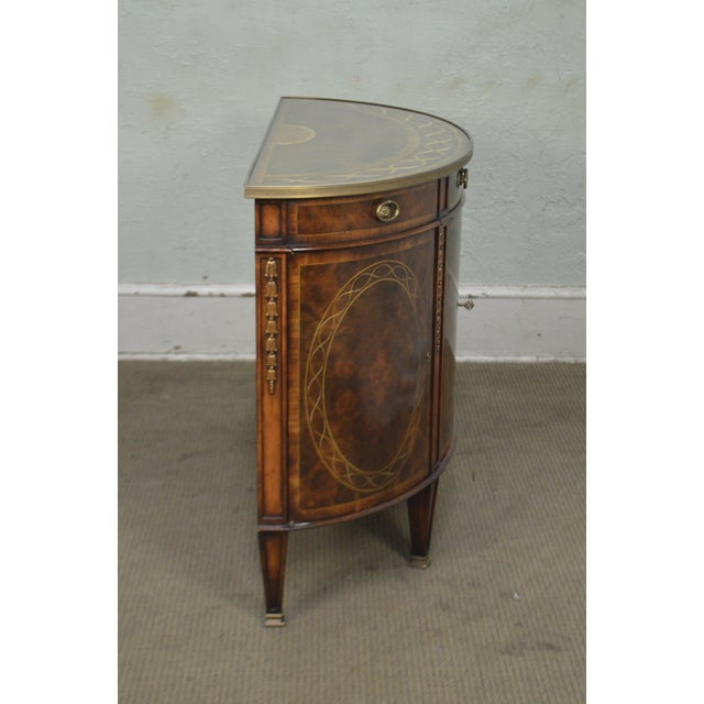 Theodore Alexander Inlaid Burl Wood Demilune Bow Front Side Cabinet Console For Sale - Image 9 of 13