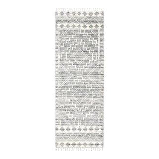 Ellery, Bohemian Shaggy Moroccan Hand Knotted Runner Rug, Light Gray, 2' 6 X 8 For Sale