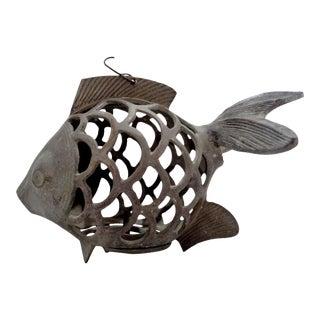 Vintage Brass Koi Fish Garden Candle Lantern For Sale