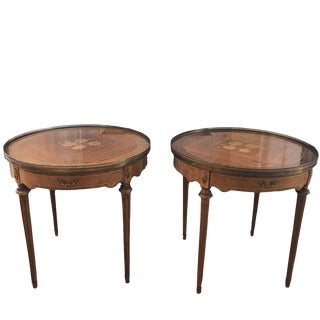 Louis XVI Style Mahogany Inlay Side Tables - a Pair For Sale