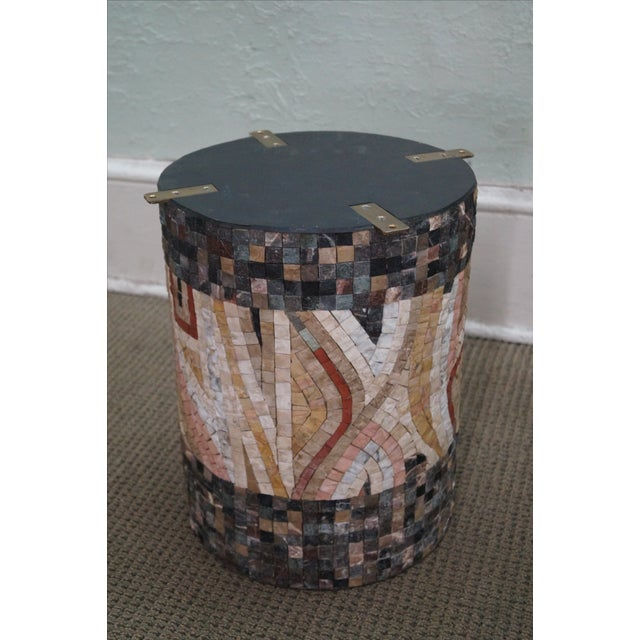 Horoscope Mosaic Stone Tile Pedestal Coffee Table For Sale - Image 10 of 10