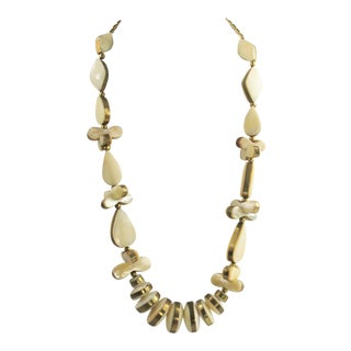 Vintage Mother of Pearl Brass Statement Necklace For Sale