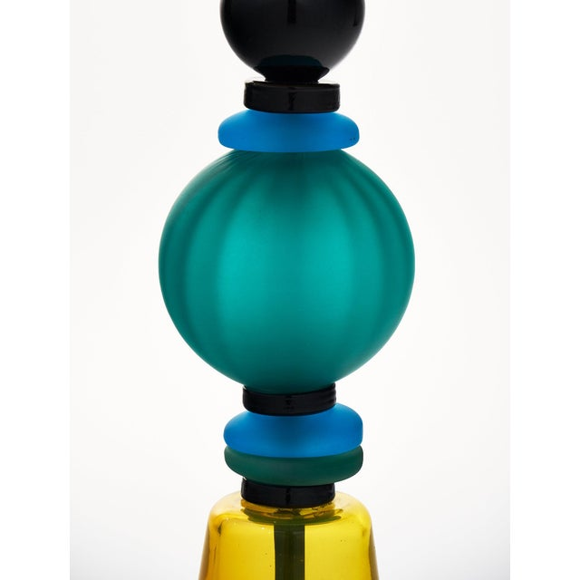 Blue Murano Glass Geometric Lamp For Sale - Image 8 of 11