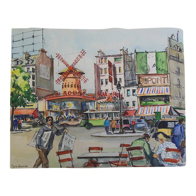 Original Vintage Signed Watercolor 'Moulin Rouge on Place Blanche in Montmartre' - Image 1 of 3