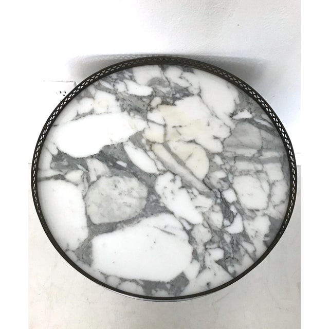 Boho Chic Silver Galleried Drinks or Side Table With Marble Top For Sale - Image 3 of 4