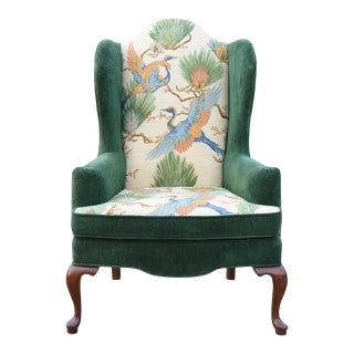 Vintage Chinoiserie Wingback Chair For Sale