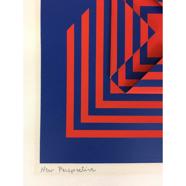 """1971 Vintage """"New Perspective"""" Geometric Op Art Serigraph Collage by Anne Youkeles For Sale - Image 12 of 13"""