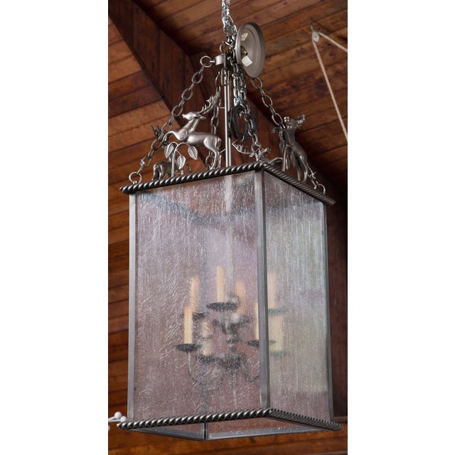 Italian Custom-Made Leaping Stag Lantern For Sale - Image 3 of 8
