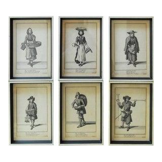 Set of Six Framed Engravings Cries of London, 1688