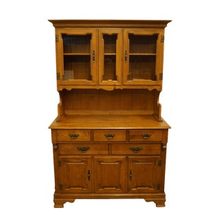 Vintage Tell City Colonial Style Maple Display Cabinet With Hutch For Sale