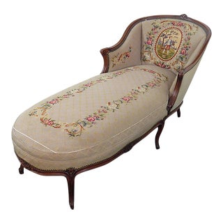 Louis XV Needlepoint Chaise Lounge Chair For Sale