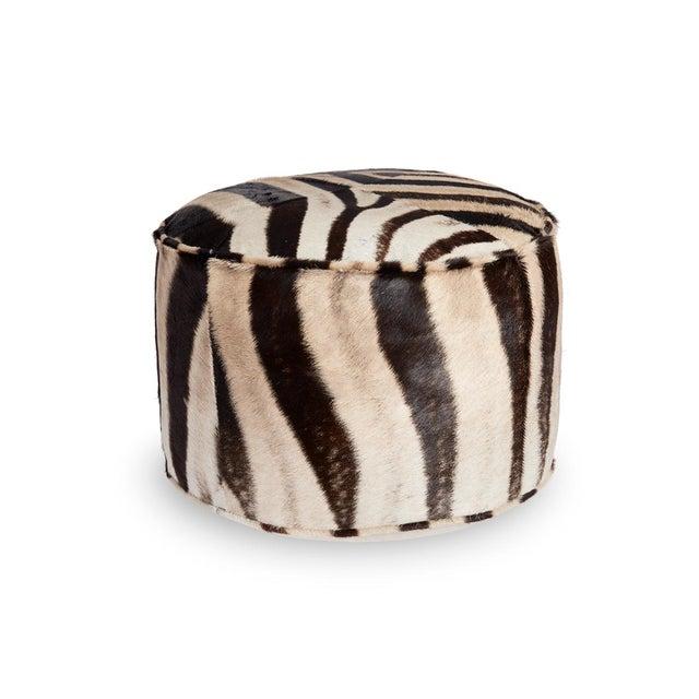 Forsyth Zebra Hide Pouf Ottoman For Sale - Image 9 of 9
