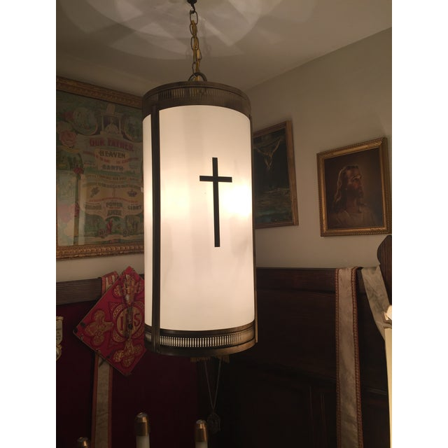 Mid-Century Fiberglass Shade Hanging Church Lights - A Pair - Image 3 of 7