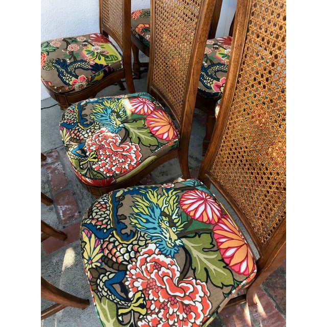 Asian 1970s Vintage Cane Back Dining Chairs- Set of 8 With Schumacher Fabric, Chiang-Mai Pattern For Sale - Image 3 of 12
