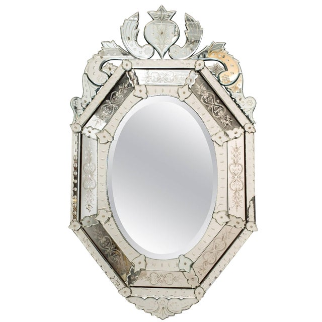 1930s Octagonal Venetian Mirror With Crown For Sale