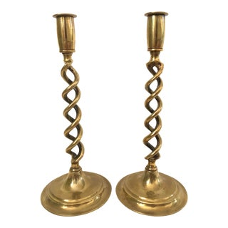"Vintage Barley Twist Brass Candlesticks, 12"" - a Pair For Sale"