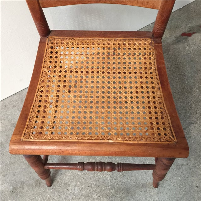 Antique Caned Tiger Maple Chair Chairish