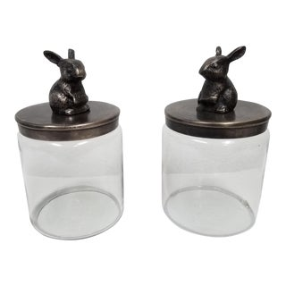 Contemporary Glass Bunny Lid Canisters - a Pair For Sale