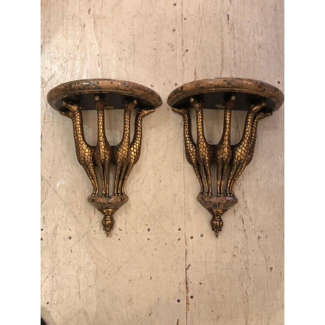 1990s Vintage Eye-Catching Giraffe Motiffe Brackets by Maitland Smith- A Pair For Sale - Image 12 of 12