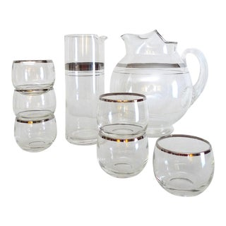 Mid-Century Modern Silver Banded Glass Barware, Dorothy Thorpe Company - Set of 8 Pieces For Sale