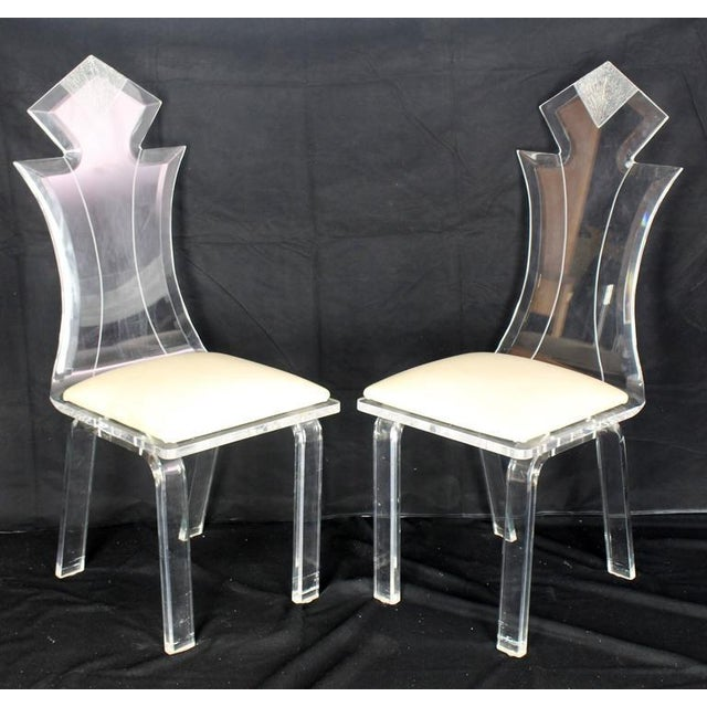Early 20th Century Set of Four Carved Bent Lucite Dining Chairs For Sale - Image 5 of 5