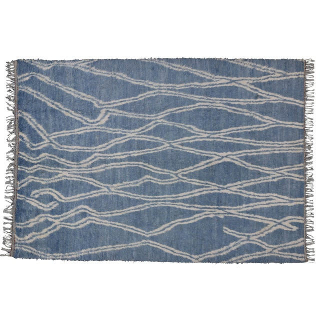 """Boho Chic Moroccan Style Shag Rug in Blue With Modern Tribal Style - 8'8"""" X 12'2"""" - Image 1 of 10"""