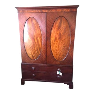 Antique English Mahogany Linen Press