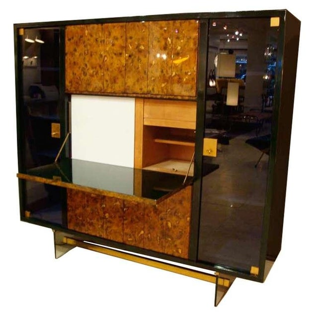 Gold Raphael Rare Drop Front Libraire Cabinet in Original Lacquer France circa 1962 For Sale - Image 8 of 10
