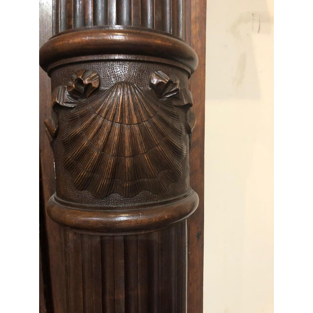 Hand-Carved Renaissance Style Wood Mantel with Trumeau For Sale In Dallas - Image 6 of 9
