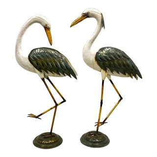 Vintage Metal Standing Blue Herons Garden Figures - a Pair For Sale