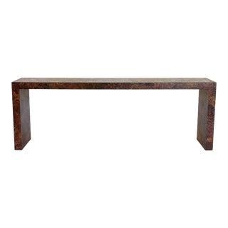 Long Faux Burl Wood Console Table For Sale