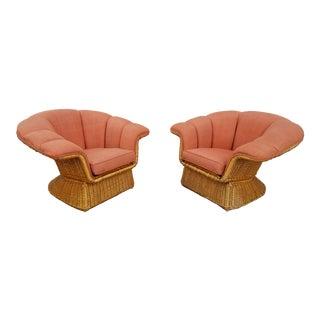 1980s Vintage McGuire Sculptural Tropical Rattan Club Chairs- A Pair For Sale