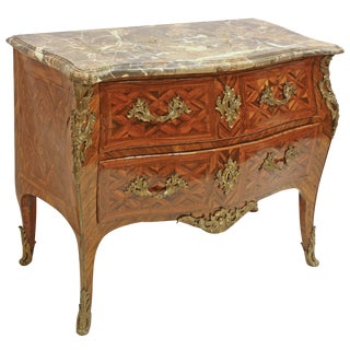 French Period Louis XV Marquetry Commode Stamped J Dubois For Sale
