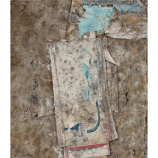 """Barbara Lewis """"r.i.p.s"""" Abstract Collage in Blue and Gray, 1985 For Sale"""