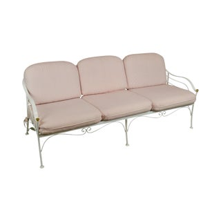 Woodard Vintage White Wrought Iron Patio Sofa For Sale