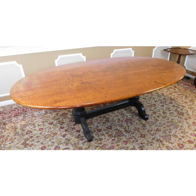 Tiger Maple Oval Country Dining Table - Image 4 of 10