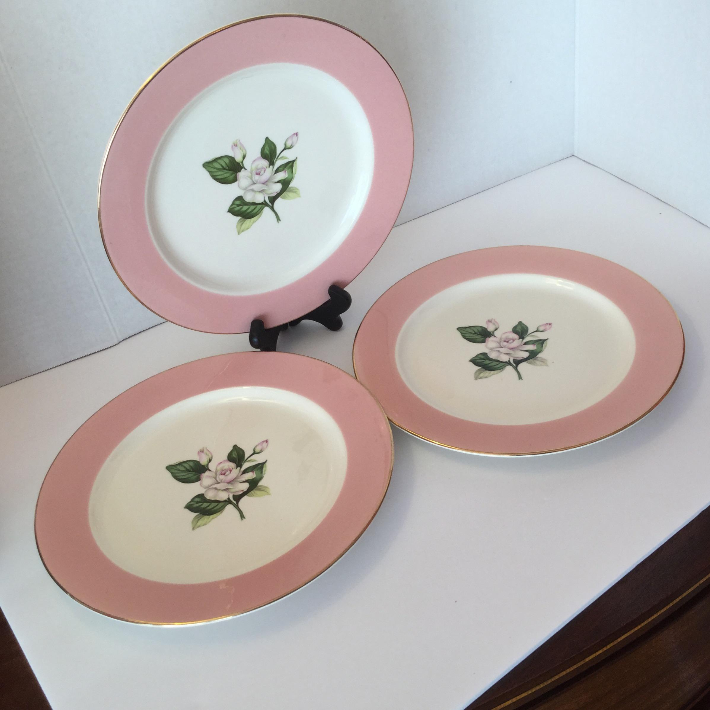 Mid-Century Pink Dinner Plates - Set of 3 - Image 2 of 11 & Mid-Century Pink Dinner Plates - Set of 3 | Chairish