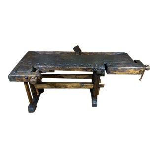 19th Century French Oak Carpenters Workbench For Sale
