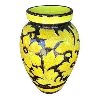 1960s Italian Yellow Floral Ceramic Pot For Sale