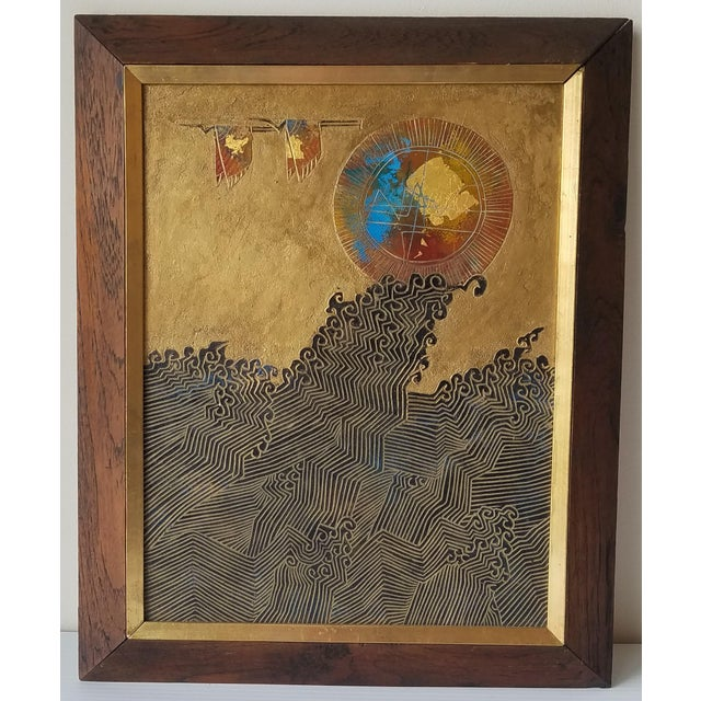 1960s Abstract Relief with Gold Leaf, Framed For Sale - Image 9 of 9
