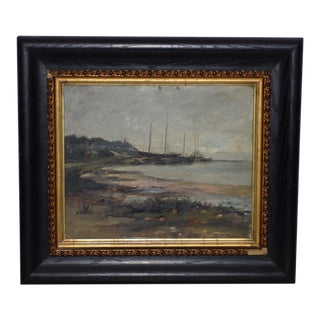 "Frederick Leo Hunter (1858-1943) ""Port Jefferson"" Original Oil Painting C.1890s For Sale"