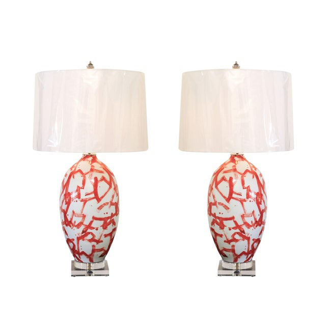 Graphic Pair of Large-Scale Ceramic Vessels as Custom Lamps For Sale
