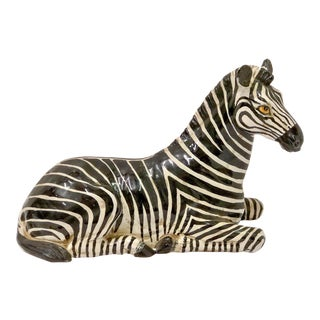 Italian Hollywood Regency Terracotta Zebra
