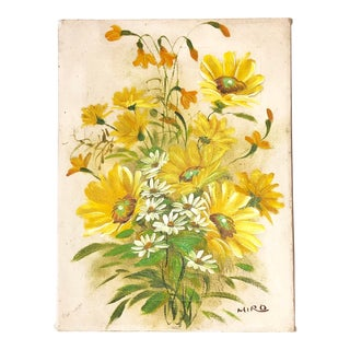 Yellow Flower and Daisy Painting For Sale